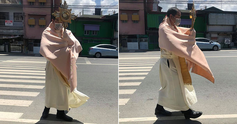 WATCH: Filipino Priest Bravely Brings The Blessed Sacrament To The People Amid COVID-19 City Lockdown